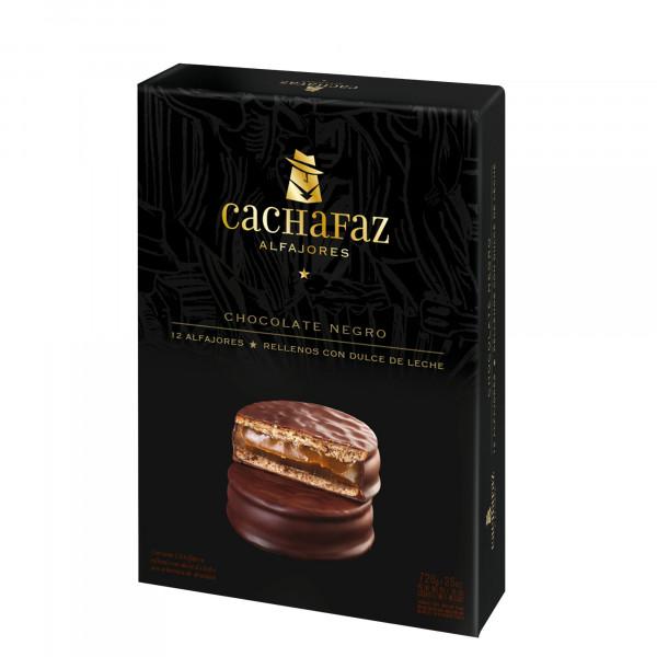Alfajores Cachafaz Argentina - Chocolate Negro - 12 Unidades
