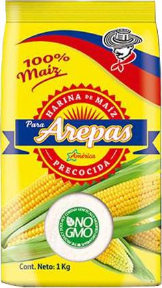 Vorgekochtes Maismehl für Arepas - Weißes Mais - America
