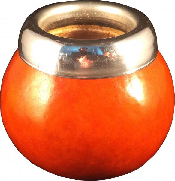 Kalebasse für Mate Tee aus Flaschenkürbis mit Metalrand - Naturfarbe