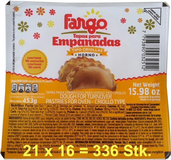Empanada Teig FARGO - Backofen - 21 x16 (336 Scheiben)